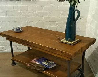 March Sale FREE DELIVERY! Reclaimed Church Pine Wood Galvanised Steel Pipe Industrial Coffee Table