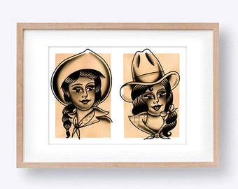 Cowgirl Ladies Watercolour Tattoo Flash Art Print