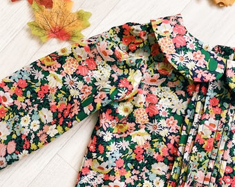 MABEL Handmade Liberty of London Print Blouse, LONG sleeve PLEATED with Peter Pan Collar