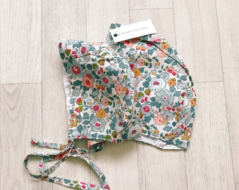 READY to SHIP 'Anna' Handmade Liberty of London BRIMLESS Baby Bonnet Betsy