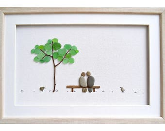 Sea glass art gift for couple, Pebble art, Romantic gift for her / him, Unique wedding gift, engagement or anniversary gift, Framed wall art