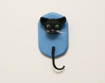 Black Cat Faux Taxidermy - Knit / Crochet Miniature Stuffed Animal