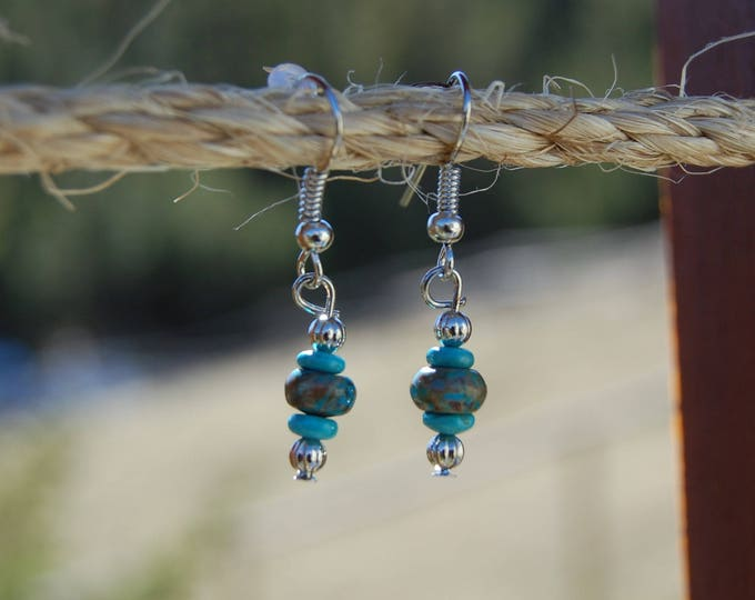 Turquoise & Silver Dangle Earrings