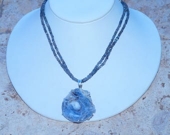 Desert Rose Druzy with Labradorite Beaded Necklace 925 Sterling Silver Necklace by Silver Trend