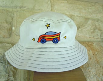 Baby Boy BUCKET SUN HAT with embroidered  Race Car-Size 6-18 Months-Boy's Sun Hat with Velcro Chin Strap