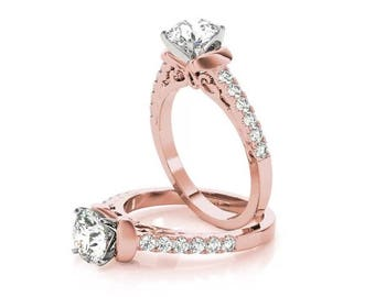 Forever Brilliant Moissanite Petite Cathedral Diamond Collar Engagement Ring with Filigree Sides in Rose Gold