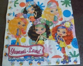 6 napkins paper girl yummi land, Princess paper napkin paper napkin