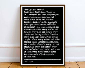 Carl Sagan  quote  - Pale Blue Dot - Digital Printable Download - printable art print gift