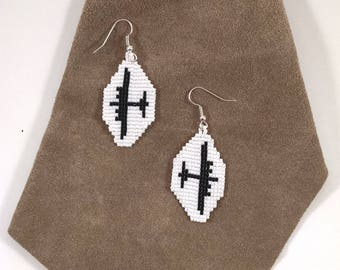 Beaded Airplane Earrings, Pilot Jewelry, Boeing B-17 Flying Fortress Heavy Bomber, WWII Aviation White and Black Aviation Jewelry