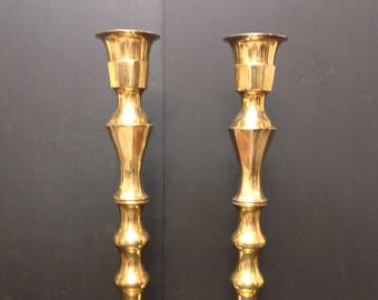 Pair of Brass Candlesticks Large Mid Century Modern Hollywood Regency Candle Holder