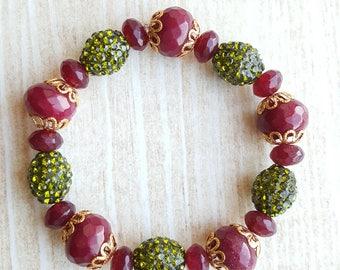 Red Jade Bead Bracelet