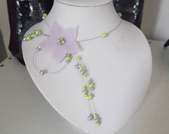 Necklace wedding bridal silk flower beads lime green / violet purple lilac clear ceremony evening parties