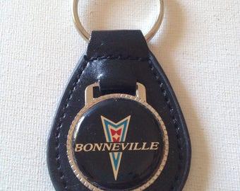Pontiac Bonneville Keychain Black Leather Key Chain