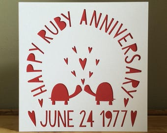 Ruby Anniversary Card, Ruby Anniversary, Turtle Card, Card, Turtles In Love Card, Tortoise Card, Tortoise Lovers, 40th Anniversary Card