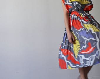 Tropical / Vintage set / pleated skirt and Blouse / printed leaves red yellow blue and gray.