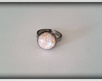 Adjustable ring resin Cabochon glitter