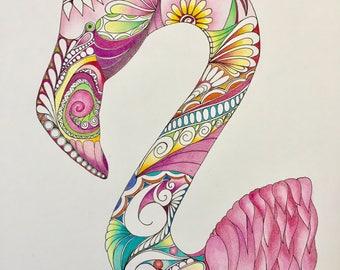 Zentangle flamingo,pink flamingo,flamingo art,colored zentangle,bird art,colored bird,ink colored pencil,wall art,wall decor.
