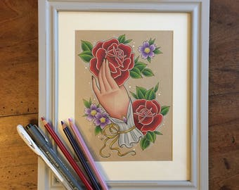 Hand & Flowers Framed Original Drawing // Original Art // Unique // Gift for Female // Gift Idea