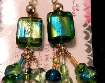 Fused Glass, Green and Gold, Dangle Earrings, Handcrafted Earrings