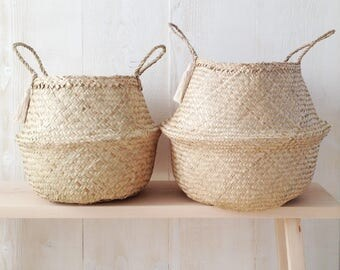 pom pom seagrass belly basket cream panier boule planter. Black Bedroom Furniture Sets. Home Design Ideas