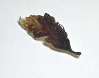 Vintage enamel leaf brooch from Japan, leaf pin, brown leaf brooch, earthy brooch, novelty pin, autumn brooch, 1970s