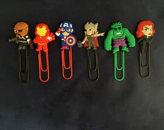 Superhero Inspired Cartoon Plastic Paperclip Bookmark Nick Fury Thor Iron Man Hulk Captain America