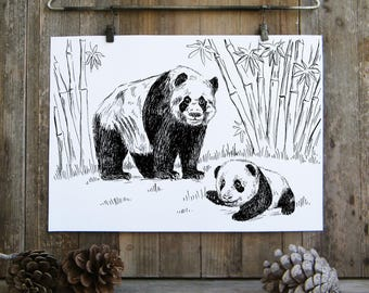 Panda Wall Print, Woodland Animals, Panda Gifts, Black And White Printable,Panda Family, Nature Art, Kids Room Decor, Gift Under 10
