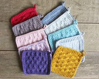 Kitchen potholders Knit pot holder set of 2 hot pads Cotton potholder Crochet hot pad baking Washcloth dishcloth Kitchen hostess gift under