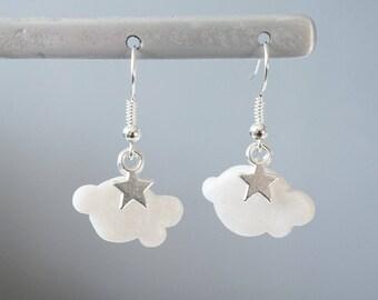 2 - Pearl White Cloud - polymer clay earrings