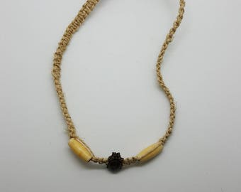 Beaded beetle hemp necklace, choker  (HNK011)