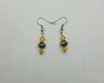 Crystal and silver earrings (ER018)