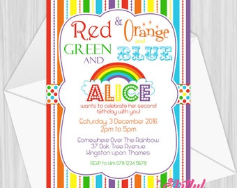 Printable Rainbow Party Invitation   Personalized