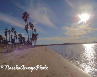 Canvas, Print, Framed, Sunny Sandy Beach 4x6 Image Mission Bay San Diego, gallery wrapped, no frame canvas