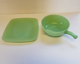 Vintage Jadeite bowl and plate