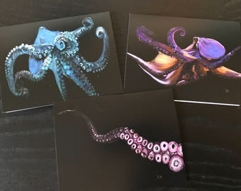 Set of three octopus greeting cards, octopus, tentacles, greeting card, pulp, tintenfisch
