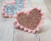Glitter Heart Hair Clip - Choose Your color - rose gold, silver - alligator clips, baby bows, handmade bows, girl hair bows