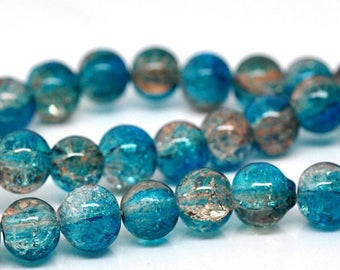 10 blue marbled glass 8mm beads