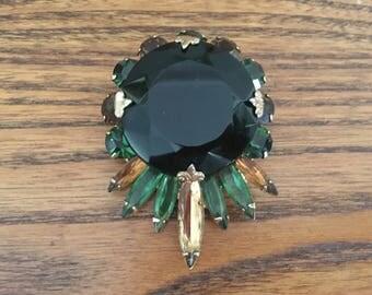 Fabulous Vintage Dark Green, Emerald Green and Colorado Topaz Rhinestone Brooch - Schreiner? 1268