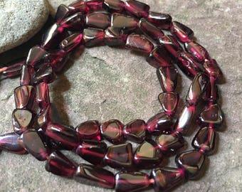 Smooth garnet beads, flat garnet, beading supplies, jewelry supply, Smooth garnet