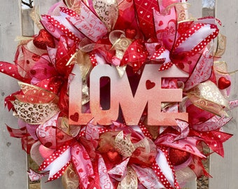 Valentine Wreath, Valentines Day Wreath, Love Wreath, Valentine Front Door  Wreath, Valentine