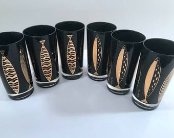 Fred Press Signed Mid-Century Black & 22-Karat Gold Fish Highball Glasses (Set of 6)