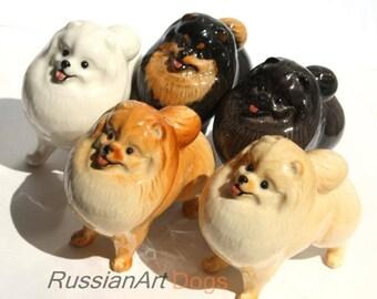 Pomeranian dog porcelain figurine handmade statuette