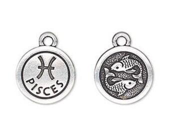 Pisces Charm, Antiqued Silver, Astrological Charm, Zodiac Charm, Pendant, 15mm, 1 Each, D1072