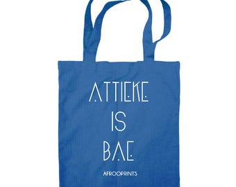 "AFROOPRINTS   Tote Bag ""Attieke is Bae"" - Bleu Ciel"