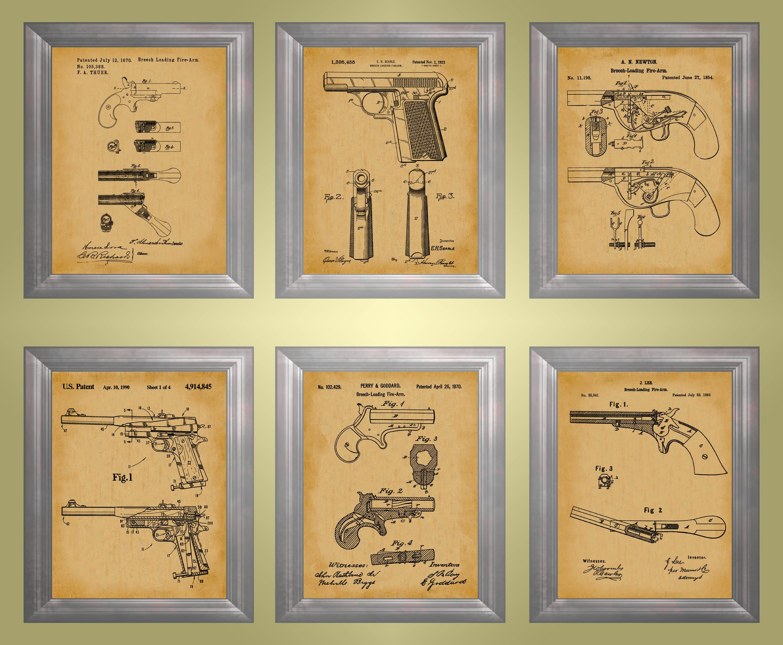 Gun Print Breech Load Pistol Wall Art Military Decor Firearm ...