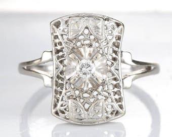 Diamond ring Vintage  | 14 karat white gold | filigree | reclaimed | eco-friendly |  circa 1940