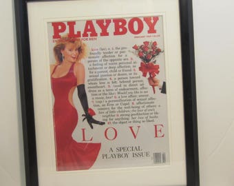 Vintage Playboy Magazine Cover Matted Framed : February 1989 - Michele Smith