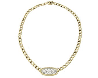 Chunky 14K Gold Curb Chain Pave Diamond Necklace