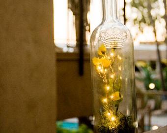 Fairy Lights Bottle Yellow Flower