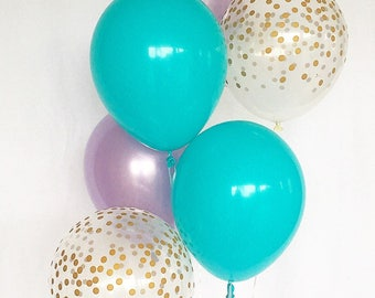 Blue Purple and  Gold Confetti Latex Balloons~Mermaid Party Balloon~Under the Sea Party~Baby Shower~Bridal Shower~Gold Confetti Look Balloon